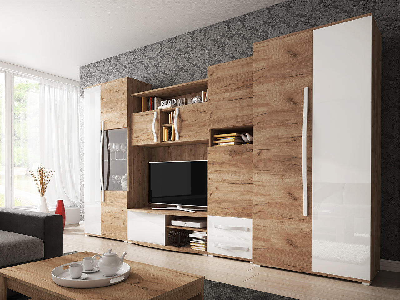 Details zu Wohnwand Laura Wohnzimmer Anbauwand TV Lowboard Regal Schrank  Modern Design NEU