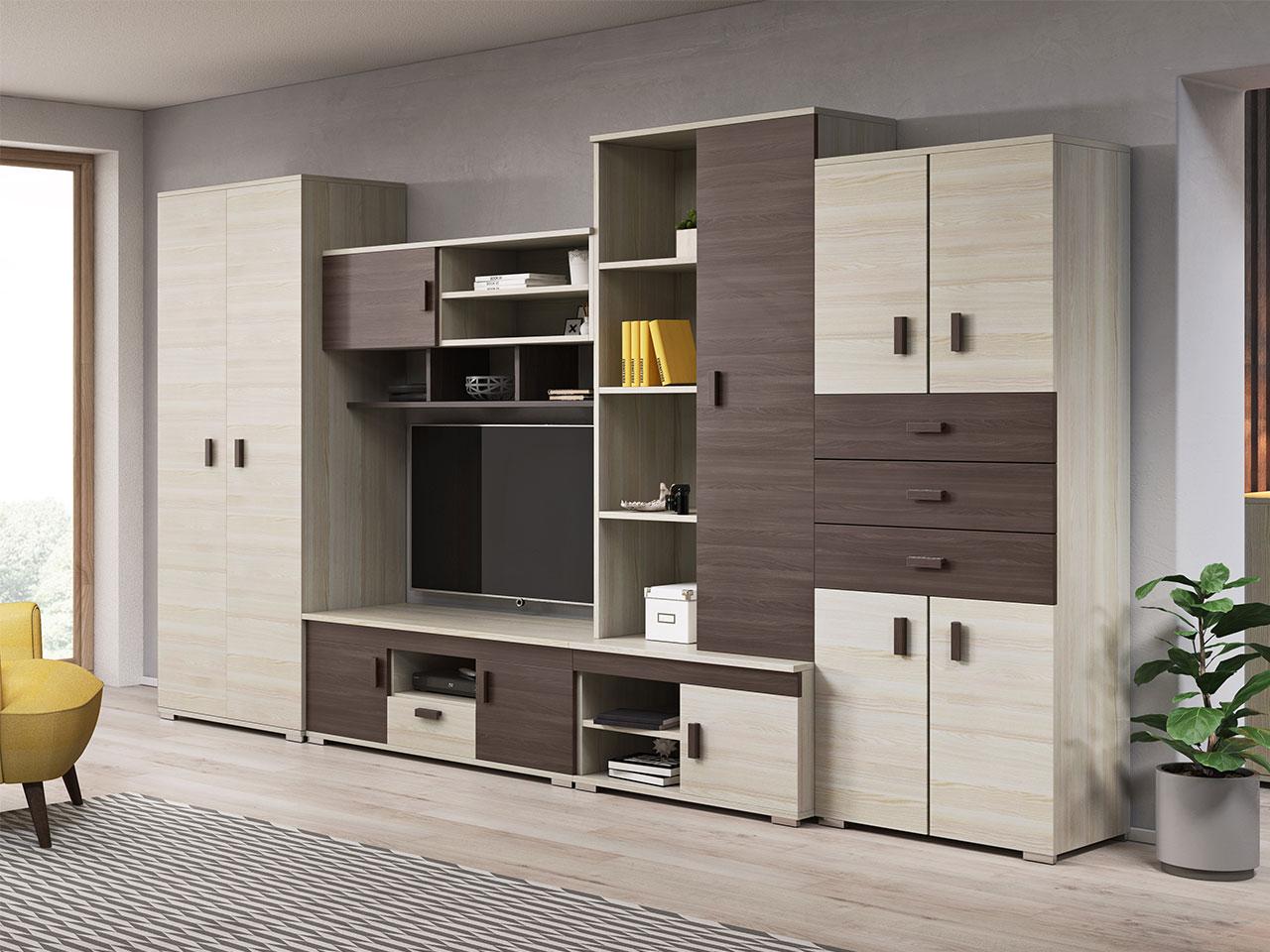 Details zu Wohnwand Gotha Modern Anbauwand mit Lowboard Wohnzimmer Design  Schrank Regal NEU